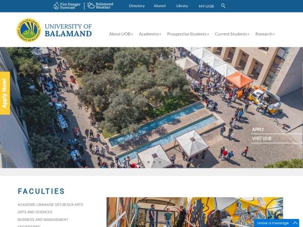 Screenshot of www.balamand.edu.lb