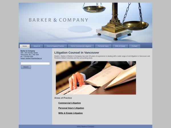 Screenshot of www.barkerlaw.ca
