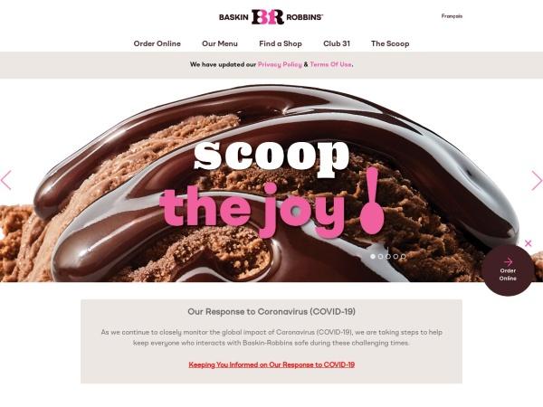 Screenshot of www.baskinrobbins.ca