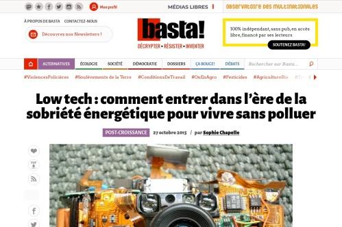http://www.bastamag.net/Low-tech-comment-vivre-sans-polluer-Entrons-dans-l-ere-des-low-tech-ou-les