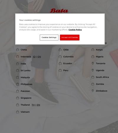 Screenshot of www.bata.com