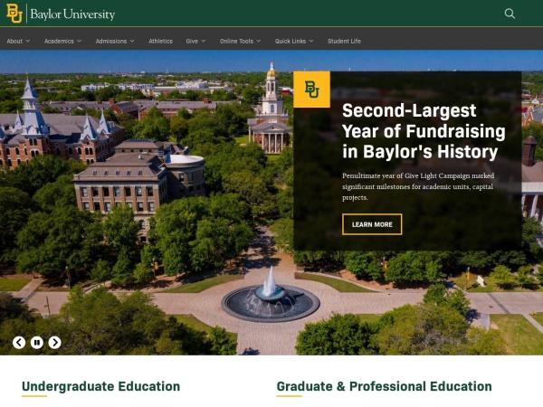 Screenshot of www.baylor.edu