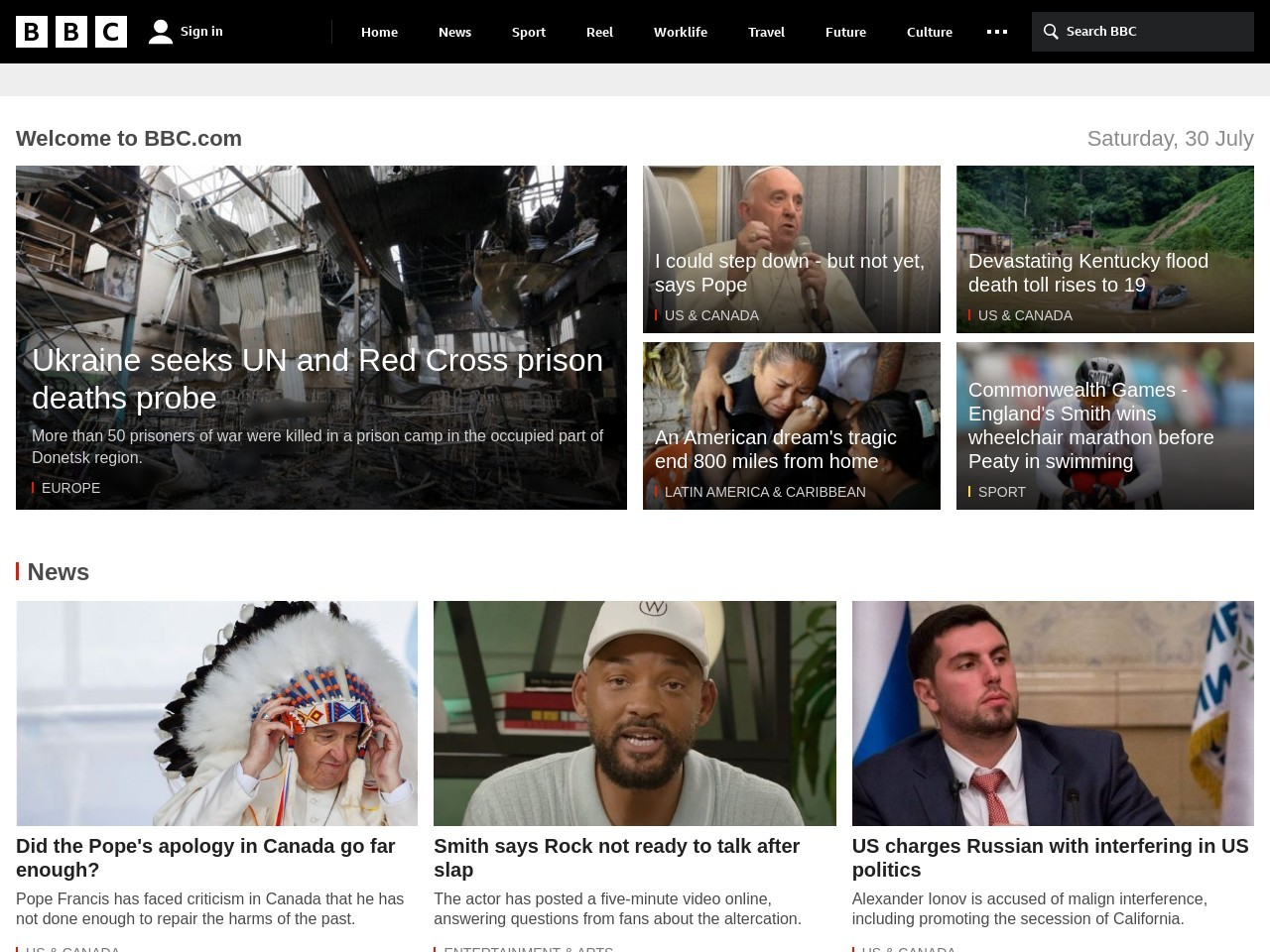 Screenshot of www.bbc.com