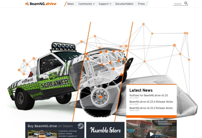 Screenshot of www.beamng.com