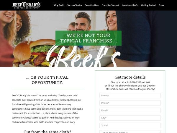 Screenshot of www.beefobradysfranchise.com