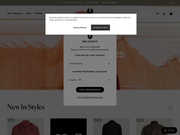 Screenshot of www.belstaff.com