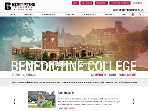 Screenshot of www.benedictine.edu