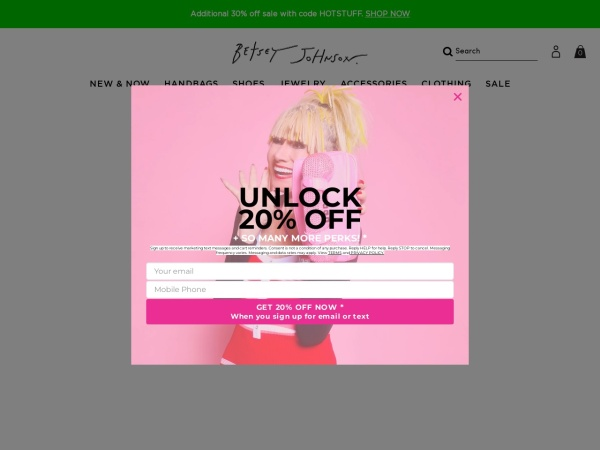Screenshot of www.betseyjohnson.com