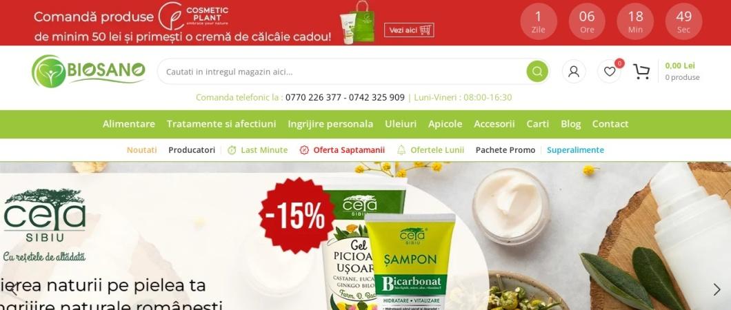 Screenshot of www.biosano.ro