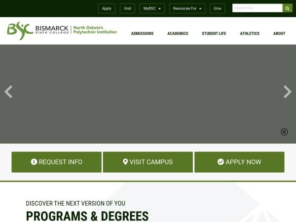 Screenshot of www.bismarckstate.edu