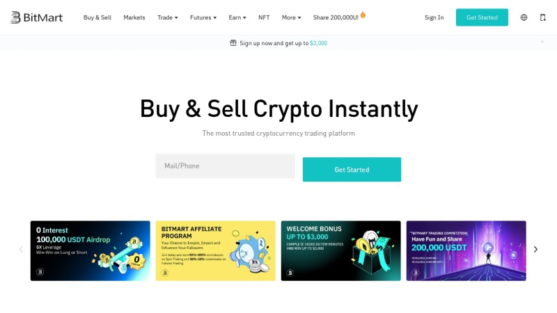 Screenshot of www.bitmart.com
