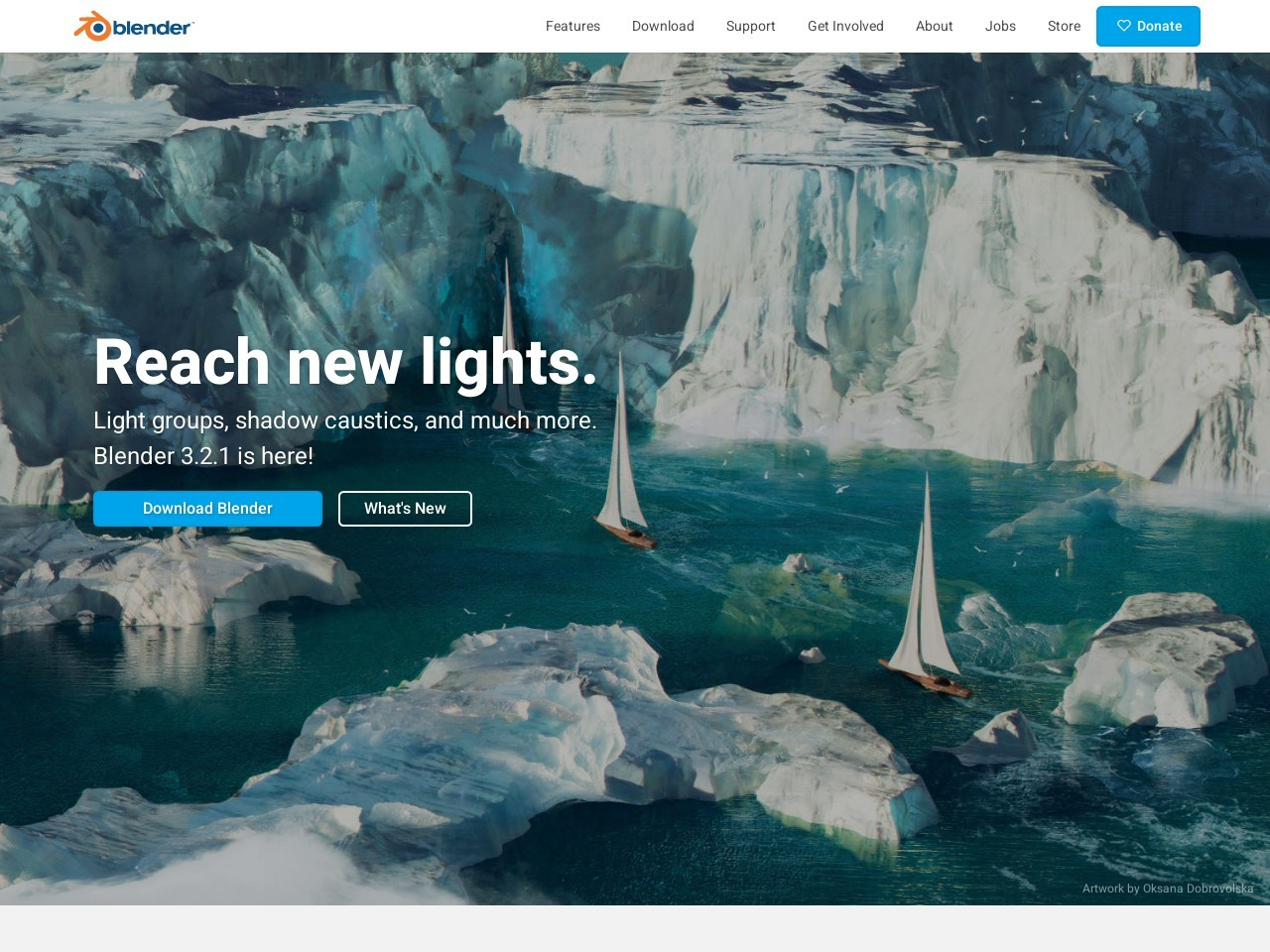 Screenshot of www.blender.org