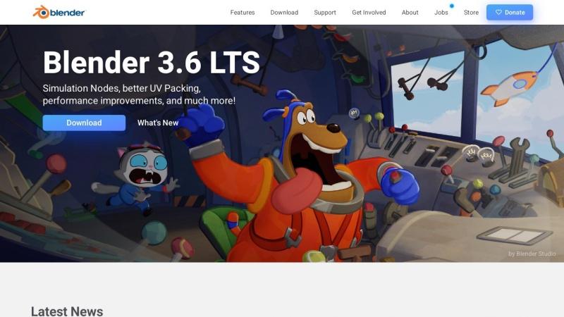 Screenshot von www.blender.org
