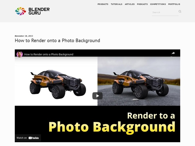 http://www.blenderguru.com/tutorials/render-onto-photo-background/