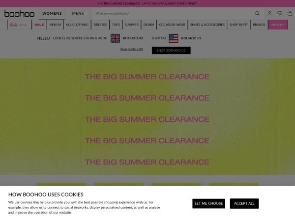 Screenshot of www.boohoo.com