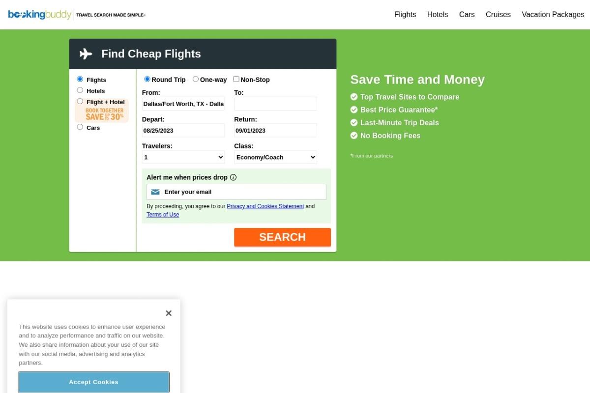 Screenshot of www.bookingbuddy.com