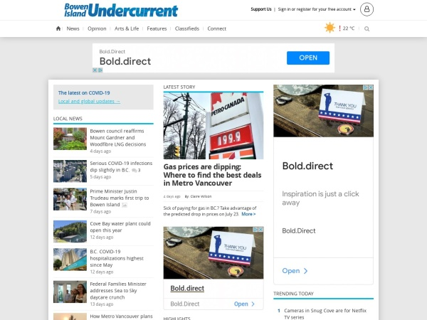 Screenshot of www.bowenislandundercurrent.com