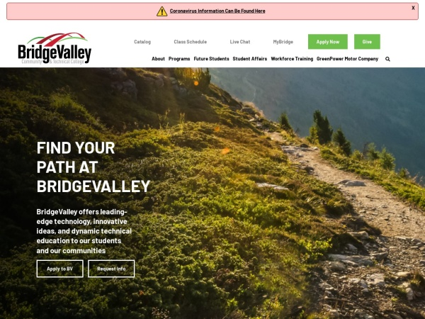 Screenshot of www.bridgevalley.edu