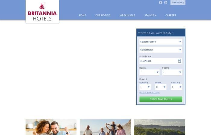 Screenshot of www.britanniahotels.com