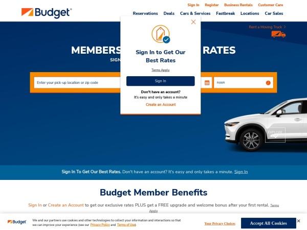 Screenshot of www.budget.com