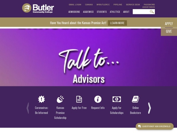 Screenshot of www.butlercc.edu