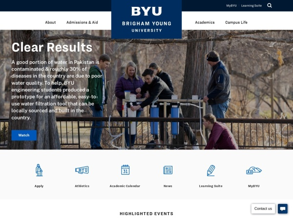Screenshot of www.byu.edu