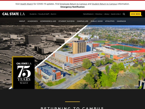Screenshot of www.calstatela.edu