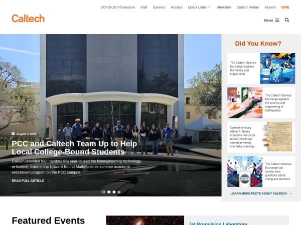 Screenshot of www.caltech.edu