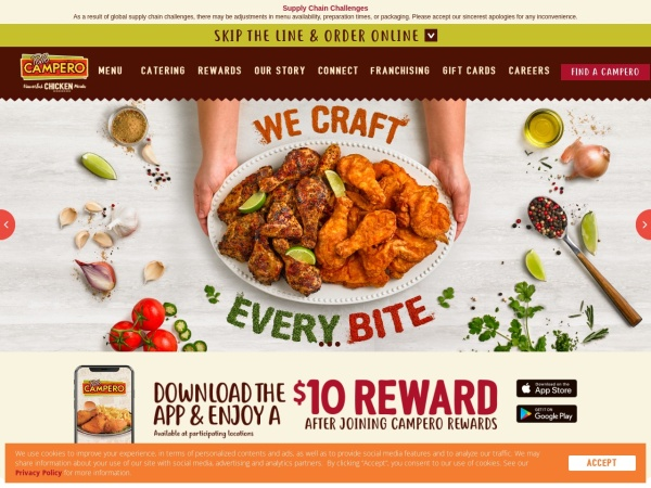 Screenshot of www.campero.com