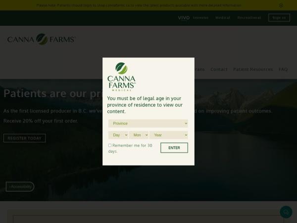 Screenshot of www.cannafarms.ca