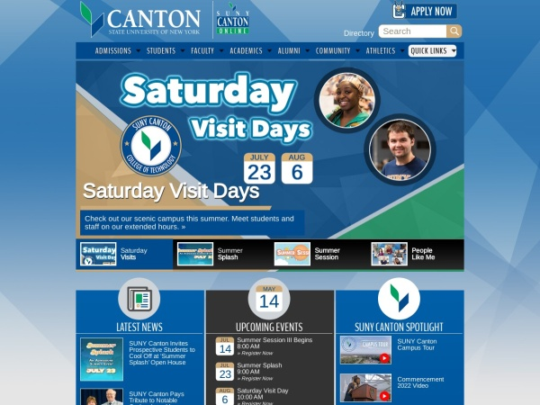 Screenshot of www.canton.edu