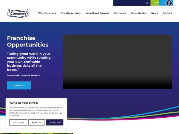 Screenshot of www.caremarkfranchises.com