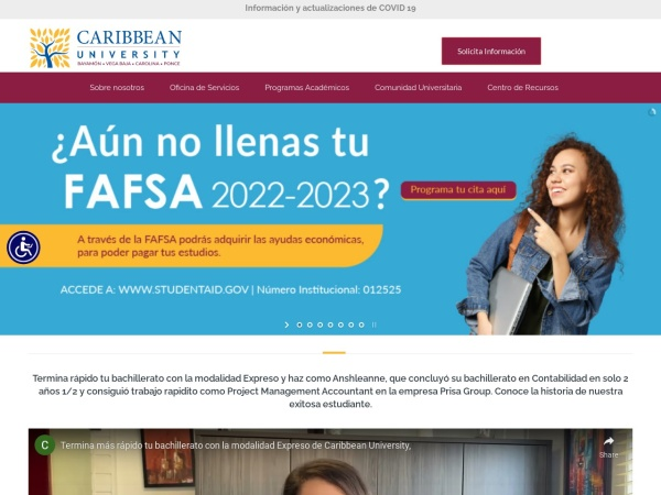 Screenshot of www.caribbean.edu