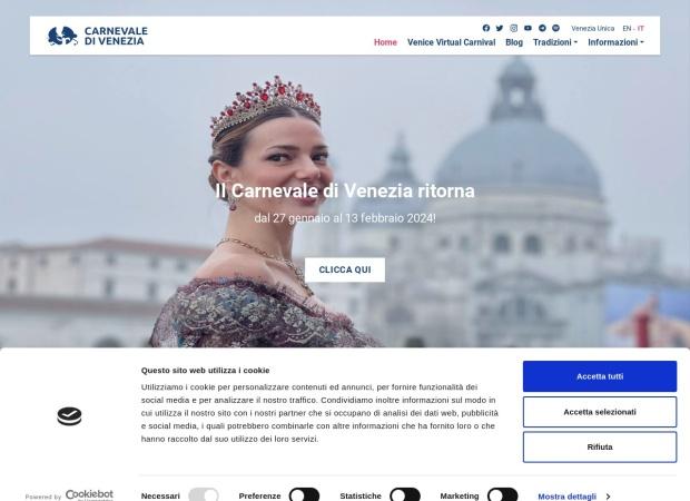 Screenshot of www.carnevale.venezia.it