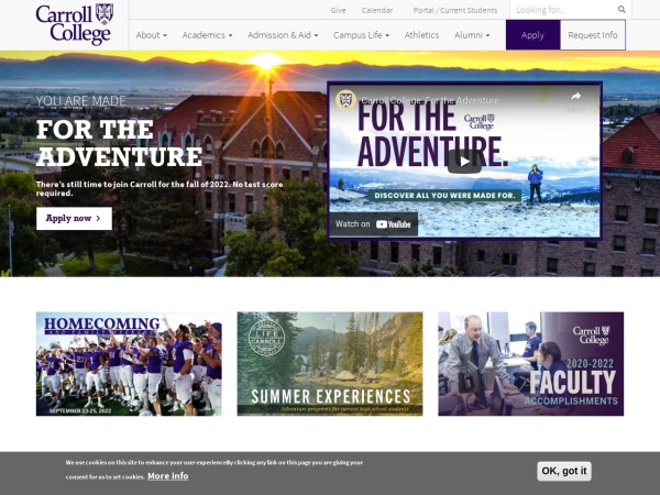Screenshot of www.carroll.edu