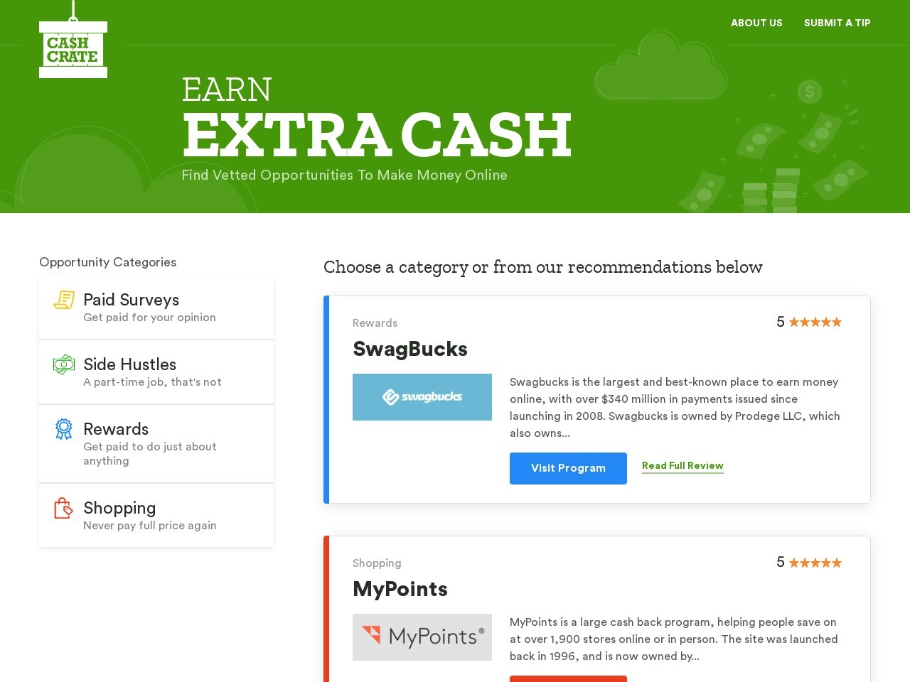 Screenshot of www.cashcrate.com