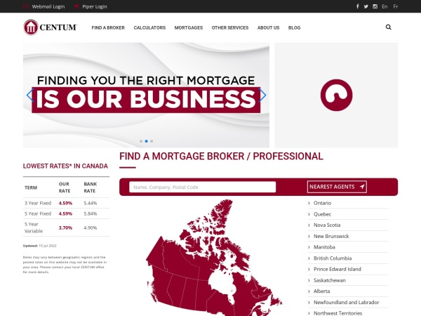 Screenshot of www.centum.ca