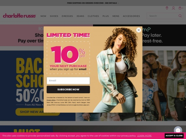 Screenshot of www.charlotterusse.com