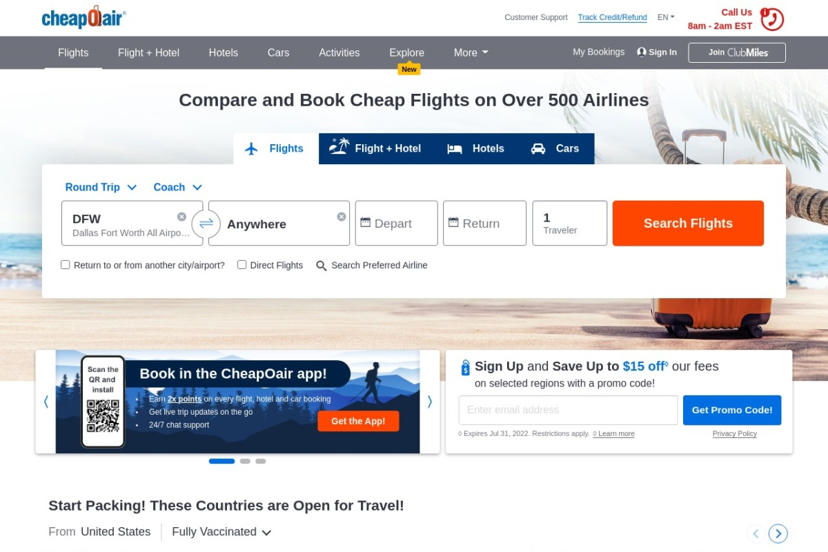 Screenshot of www.cheapoair.com