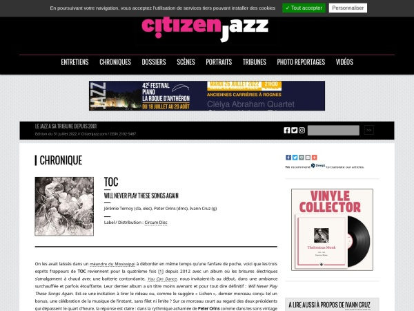 Screenshot of www.citizenjazz.com