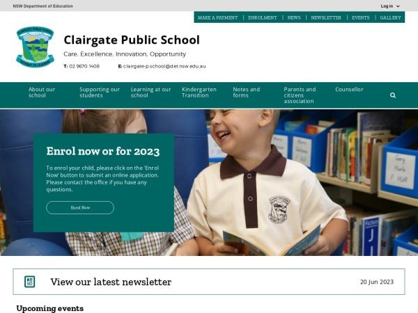 Screenshot of www.clairgate-p.schools.nsw.edu.au