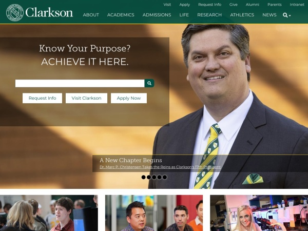 Screenshot of www.clarkson.edu