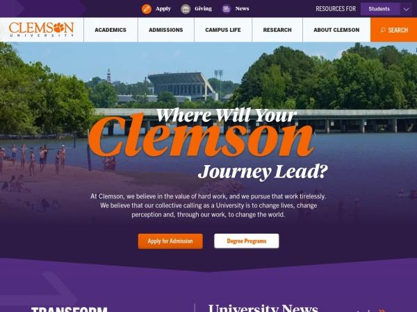 Screenshot of www.clemson.edu