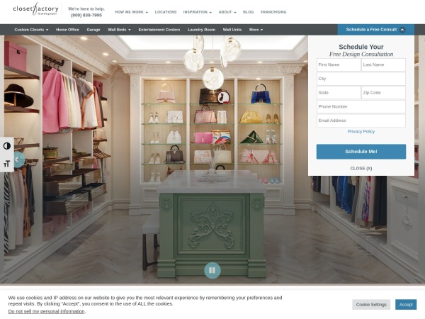 Screenshot of www.closetfactory.com