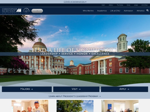 Screenshot of www.cnu.edu