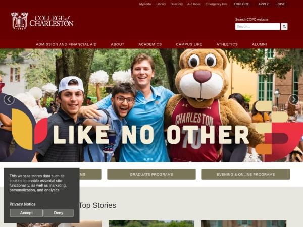 Screenshot of www.cofc.edu