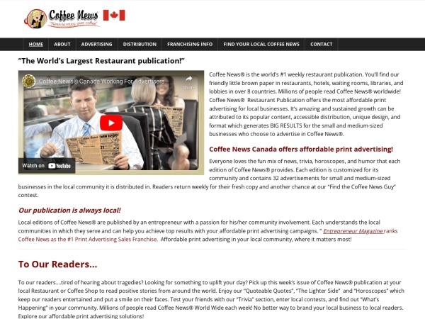 Screenshot of www.coffeenewscanada.com