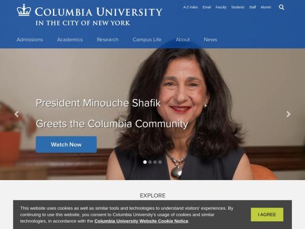 Screenshot of www.columbia.edu