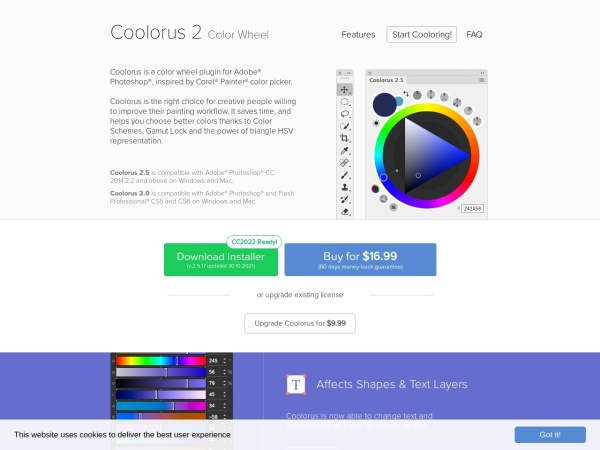 Screenshot of www.coolorus.com