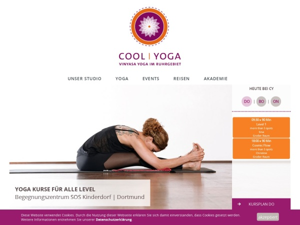 Screenshot von www.coolyoga.de